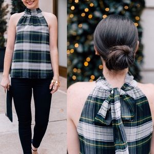 J. Crew green plaid tie neck tank top